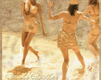 Synchronized swimmers | Retro art | Bathing beauties | sexy ladies | golden dancers | Dancers | Women dancing swimsuits