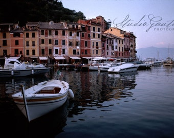 Portofino Italy fine art Photo, Mediterranean seascape, boats nautical art, Blue home decor, Italian Riviera, blue home decor