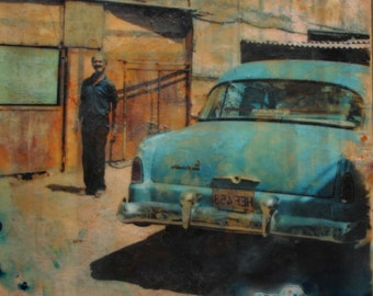 Classic car 10x11 inch original art, 60s Plymouth Mancave decor, Havana CUBA Cuban Art, Caribbean blue #CarPorn, industrial chic Fathers day