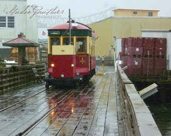 "8x10"" PHOTO Red trolley Astoria Oregon, rainy boardwalk Streetcar art, torrential rain storm, Historic transportation art, gift, train art"