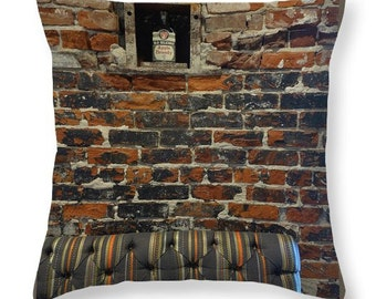 Pillow case of bricks and apple brandy, #mancave decor, urban loft decor, liquor pillow, burnt rust pillow, liquor art, Surreal pillow case