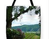 Photo: Winery Vineyard, Yamhill County Oregon landscape   verdant green landscape, purple flowers, pastoral hillside - Shower Curtain