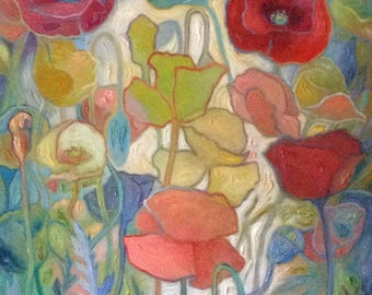 "Poppies, Les Coquelicots Variation 2, ©Jeannine Edelblut, 33"" original organic oil painting on stretched canvas. Office art. Home decor"