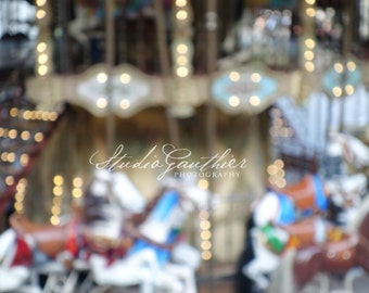 Dreamy Paris photo, Ethereal art, Carousel Montmartre France, horses, Fantasy dreamscape, blue Home Decor, Parisian Art, bokeh Paris Photo
