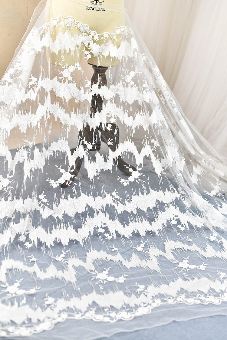 327e1a09b2 White embroidery Soft gauze mesh sequins macrame lace fabrics wedding gown  fabric,bridal dress tulle lace 0.5 yard LLHB22