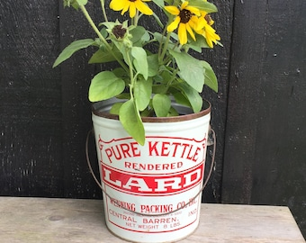 Vintage Lard Pail Can, Wenning Packing Indiana, Tin Bucket Wire Bail Handle , Rustic Red White Farmhouse Kitchen, Porch Planter