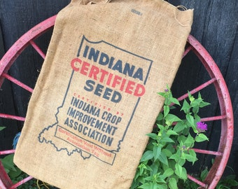 Vintage Burlap Seed Sack, Indiana State Graphic, Rustic Farm Bag, Farmhouse Decor Upcycle Repurpose Upholstery Fabric