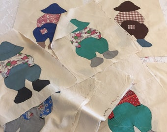 18 Overall Sam Quilt Blocks, Vintage Hand Appliqued Handstitched, 1940's Cotton Fabric, Quilting Sewing Repurpose