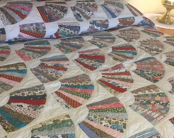 Grandmother's Fan Quilt, Vintage Handmade Patchwork, 1950's Printed Cotton,  70 x 86 inches