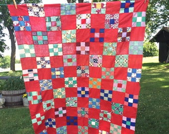 Handmade Quilt Top, Vintage Red NINE PATCH Patchwork, Feed Sack Cotton Fabric Quilting Project Repurpose Sewing