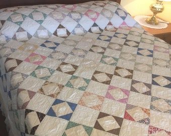 Vintage Patchwork Quilt, Hand Quilted Economy Block, Printed Cotton Squares, Cottage Farmhouse