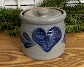 Small Rowe Pottery Works Stoneware Crock Jar with Lid, Vintage Blue Gray Salt Glazed, Cambridge Wisconsin Farmhouse Decor