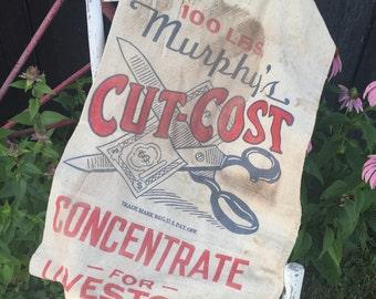 Vintage Cotton Feed Sack, CUT-COST Murphy Burlington Wisconsin, Aged Rustic Farmhouse Decor, Sewing Repurpose Fabric