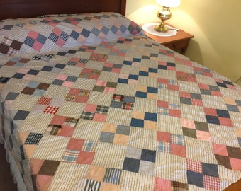 Vintage Patchwork Quilt Top, FOUR PATCH 1940's Cotton Prints Woven Checks, 76 in x 86 inches