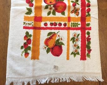 Vintage Terrycloth Kitchen Towel, Unused Fruit Theme Apple Cherries, Red Orange Green White, Terry Cloth Cotton