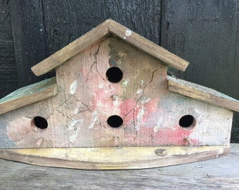 Vintage Wooden Birdhouse, Multi-Family 2 Story, Garden Porch Decorating, Painting Repurposing Project