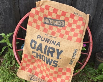 Vintage Purina Burlap Dairy Chows Feedsack, Checkerboard Cattle Feed Sack, LARGE Rustic Barn Farm Bag, Upcycle Repurpose