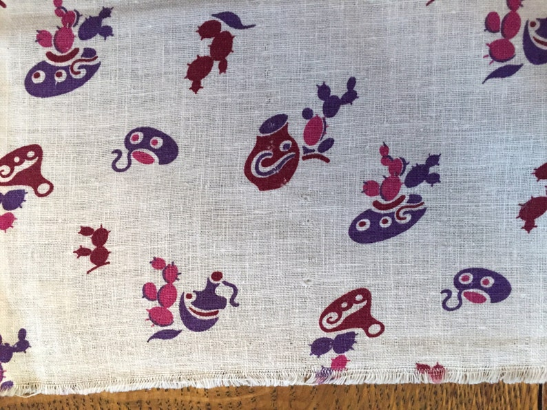 Printed Cotton Feedsack Vintage Feed or Flour Sack Fabric Quilting Sewing Material Novelty Southwest Purple Cactus Pottery