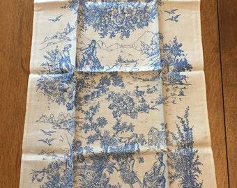 Vintage Hand Towel, UNUSED Belgian Linen w Paper Label, Blue White Toile Pastoral Kitchen or Bath