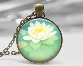 Lotus Flower Silver Tone Photo Glass Dome Necklace Pendant Gift