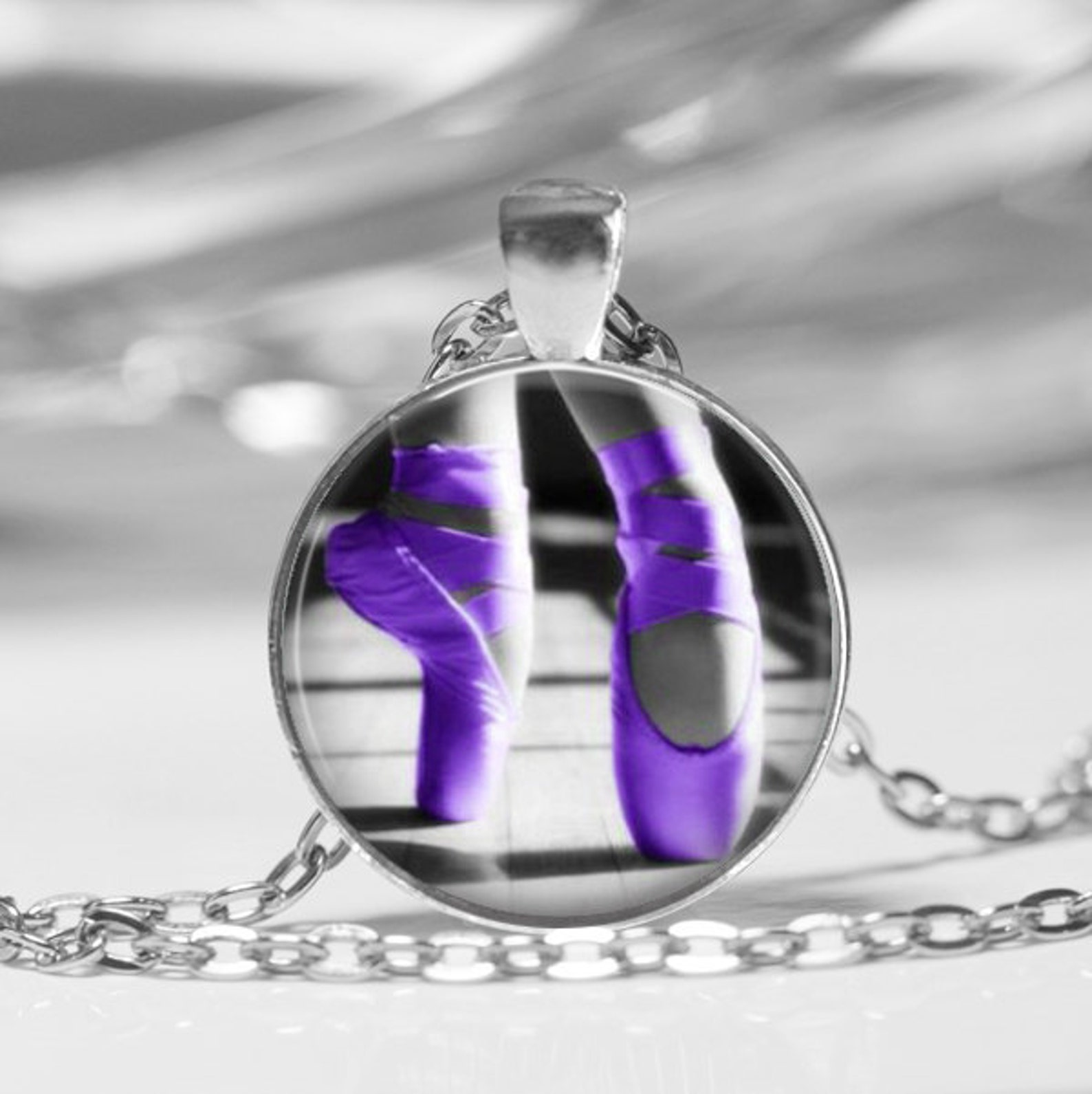 ballet slippers glass dome necklace or key chain ballet dancer dance class glass pendant dance teacher gift ballet dance shoes p