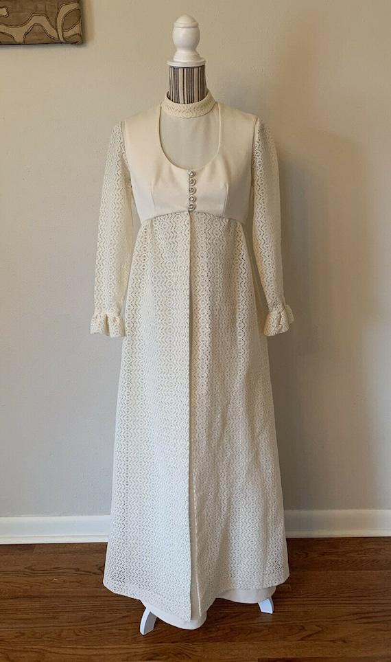 Vintage 1970s 2 Piece Maxi Dress Woman's S