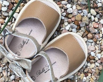 SALE ON SANDALS! Bella Simone Leather Brown & Gold Glitter Baby Toddler Infant Summer Sandals with Soft or Rubber Sole