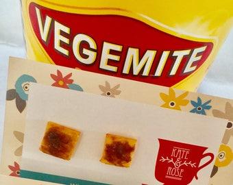 Vegemite studs - Vegemite on Toast studs - Vegemite Toast polymer clay earrings - Vegemite Toast - earrings - foodie earrings - food jewelry