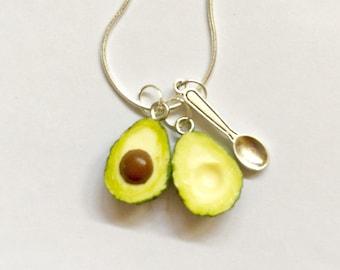 Avocado Necklace - Avocado vegan Pendant - Avocado vegan Necklace - polymer clay avocados - Avocado halves avo & spoon - Valentines Day gift
