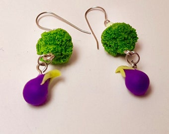 Broccoli and eggplant - broccoli aubergine earrings - drop earrings - veggie studs - vegan studs - polymer clay earrings - food jewellery