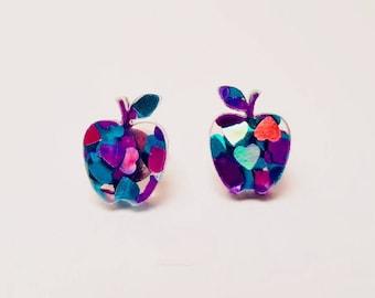 Apple studs - Purple heart glitter studs - Fruit studs - laser cut acrylic studs - apple earrings - glitter stud earrings - Teachers gift