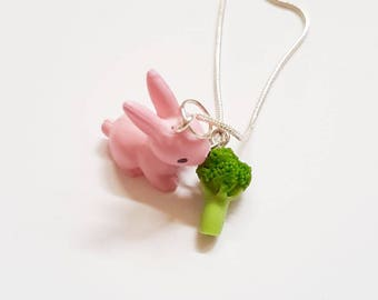 Rabbit Necklace - Bunny Necklace - Woodland creatures - Easter necklace - Bunny Pendant - Broccoli