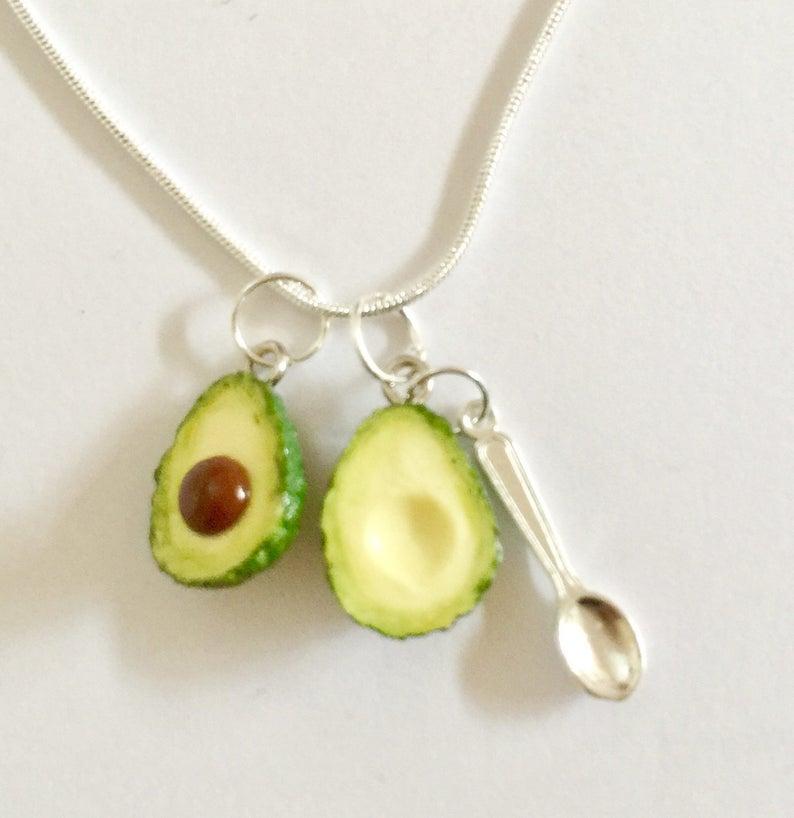 df8ccc549efa8 Avocado Necklace - Avocado vegan Pendant - Avocado vegan Necklace - polymer  clay avocados - Avocado halves avo & spoon - Valentines Day gift