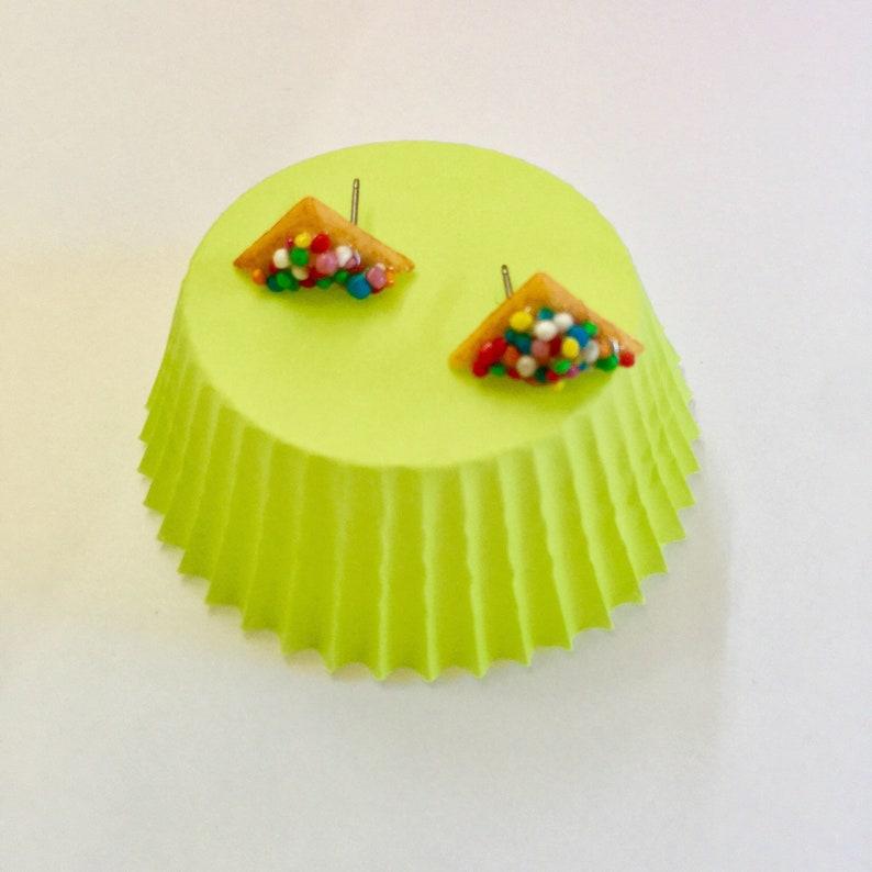 Large Fairy Bread Stud Earrings Original Sprinkles Miniature Food Studs Kawaii Kitsch Earrings Fairy Bread earrings  Jewelry