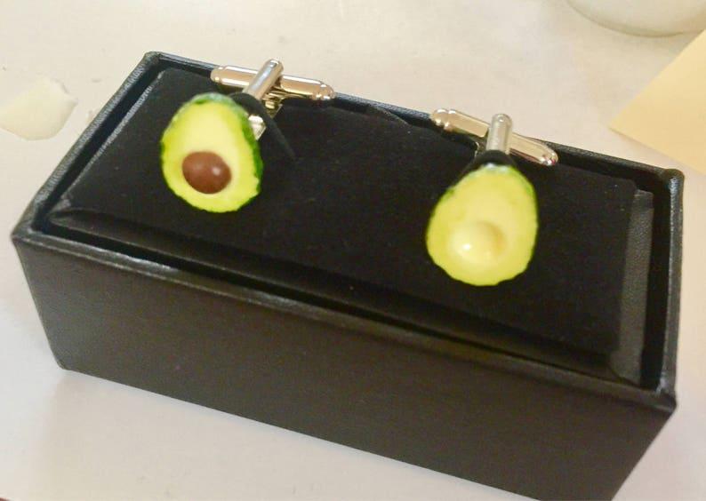 Avocado cuff links vegan cufflink grooms wear cuff links Avocado Unisex Cufflinks Wedding food jewellery food jewelry