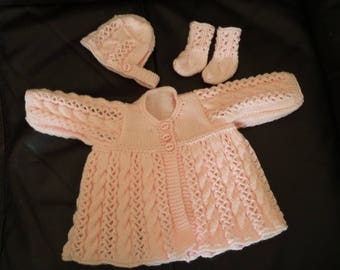 Hand Knitted Baby Girls Matinee Set