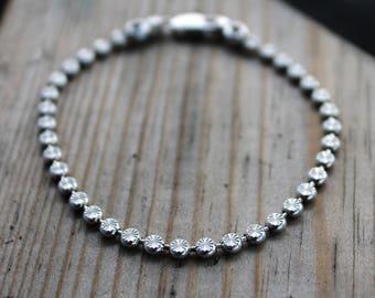 Bridal Bracelet, Tennis Bracelet, Bridesmaid Bracelet, Bridesmade Gift, Wedding Bracelet, Line Bracelet, Round Cut Bracelet, Skinny Bracelet
