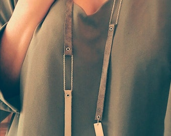Long Statement Necklace, Geometric Statement Necklace, Sterling Silver Necklace, Leather Necklace, Special Gift, Asymmetrical Pendant