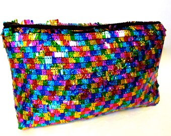 Cosmic Shimmering rainbow Make-up bag clutch purse made with sequin strand fabric!!
