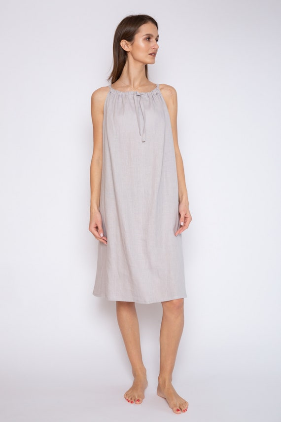 Loose Cut Linen Night Dress Night Gown Strap Dress Etsy