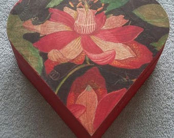 Flower Decoupaged Heart Shape Wooden Box with 3 compartments in Red - 15.5cm x 15cm x 5.4cm