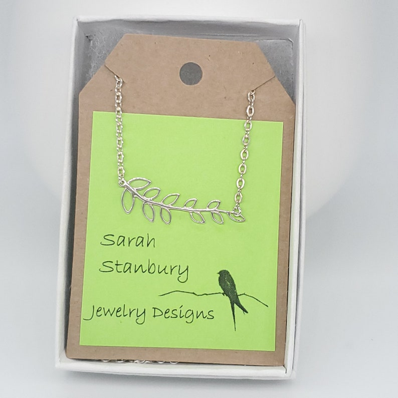 Necklace Sterling Silver Chain and Leafy Branch Link Charm