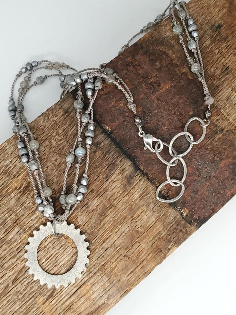 Necklace Silk Thread Triple-Strand Antiqued Silver Gear Pendant