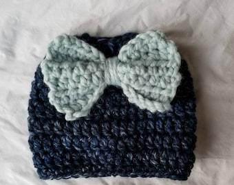 Crochet Thick n Chunky Sloppy Bun Beanie - CUSTOM