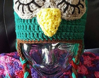 Crochet Owl Earflap hat