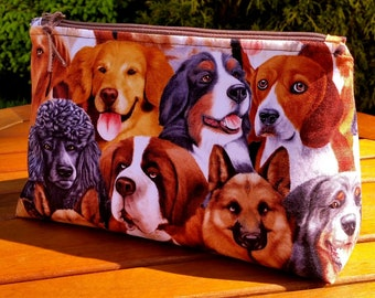 Dog Faces Makeup Bag: zippered cosmetic bag, big dogs wedge bag, golden retriever toiletry bag, beagle zip bag, poodle pouch, dog lover gift
