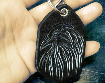 Tooled leather Raven key holder - Hand tooled leather key fob - Original gift - Artisan key holder - Biker's key chain