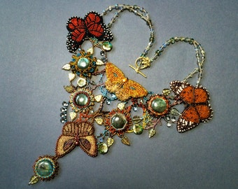 Exclusive necklace with bead embroidered butterflies and labradorite gemstones  - OOAK statement butterfly necklace