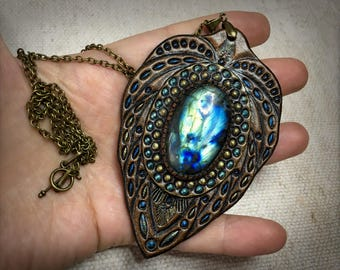 Gift for her Hand painted leather jewelry Tooled leather pendant with blue labradorite and chain