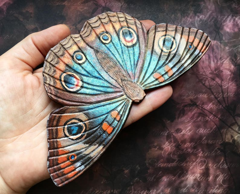 Tooled leather buckeye butterfly hair barrette with stick Artisan hair barrette Original gift for her